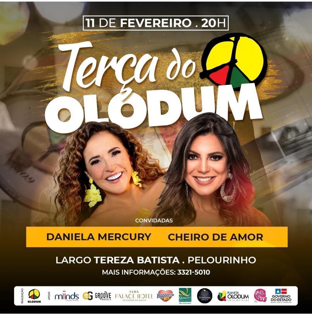 Última Terça do Olodum da temporada convida Daniela Mercury e Vina Calmon