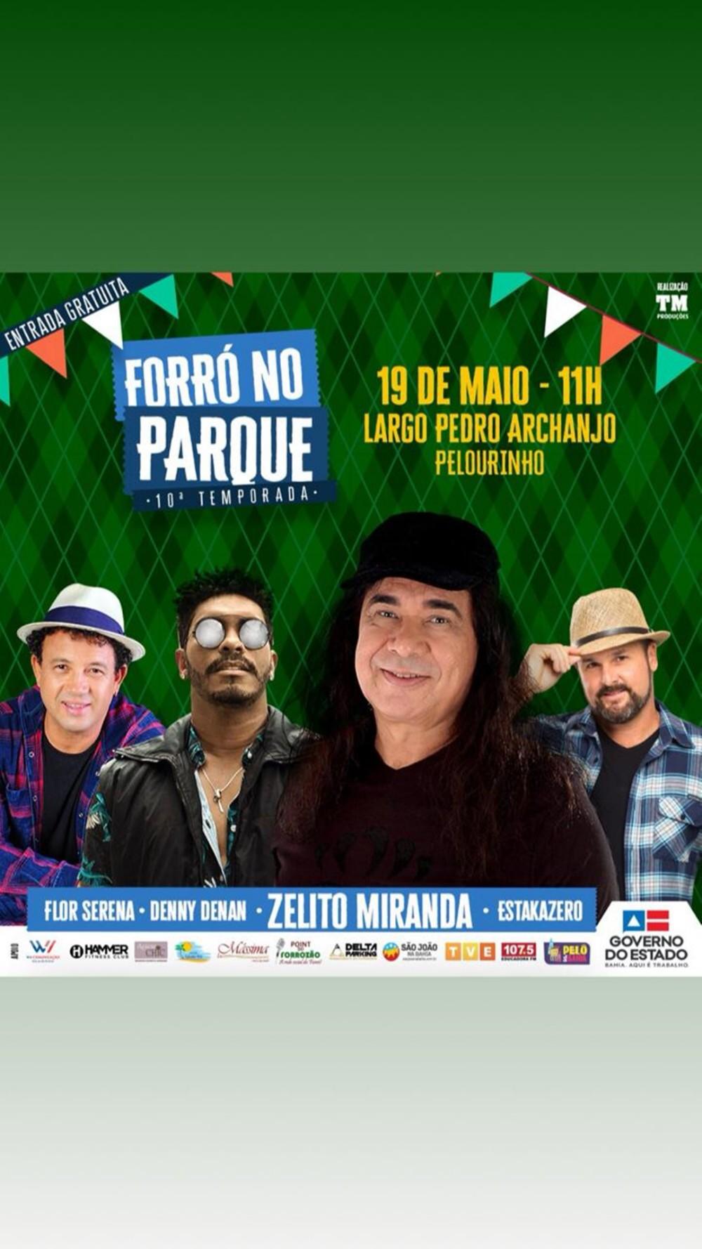 Zelito Miranda terá Denny Denan, Estakazero e Flor Serena no Forró no Parque
